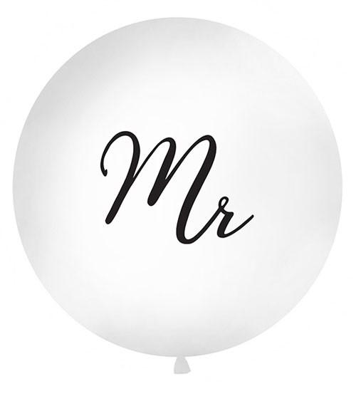 """Riesenballon """"Mr"""" - weiß/schwarz - 1 m"""