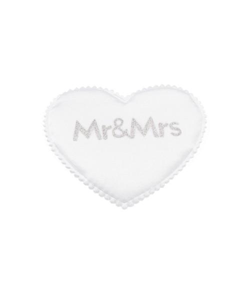 """Satin-Herzen """"Mr & Mrs"""" - weiß/silber - 6 cm - 6 Stück"""