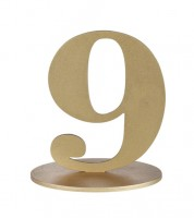 "Zahl aus Holz ""9"" - gold - 12 x 16,5 cm"