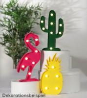 "LED-Deko ""Flamingo Ananas Kaktus"""