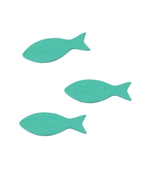"""Streuteile aus Holz """"Fisch"""" - türkisblau - 5 cm - 15 Stück"""