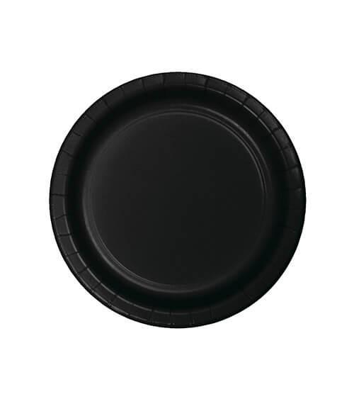 Kleine Pappteller - schwarz - 24 Stück