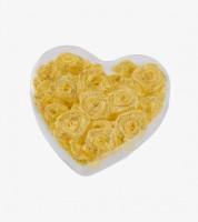 Satin-Rosen zum Streuen in Herzbox - gold - 2 cm - 30 Stück