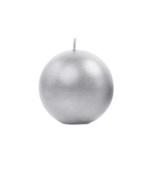 Kugelkerzen - silber metallic - 6 cm - 10 Stück