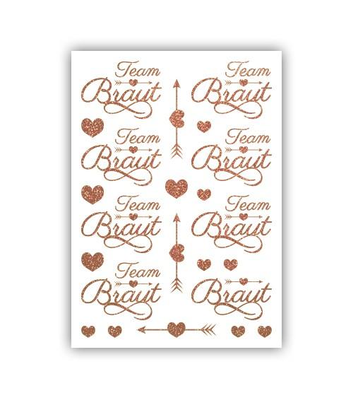 """Team Braut-Tattoos """"Amorpfeil"""" - rosegold - für 15 Personen"""