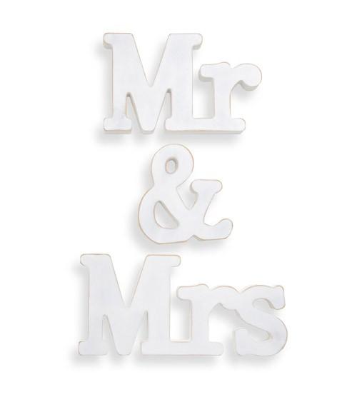 """Holzbuchstaben """"Mr & Mrs"""" - weiß"""