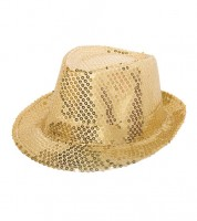 Trilby-Hut mit Pailletten - gold