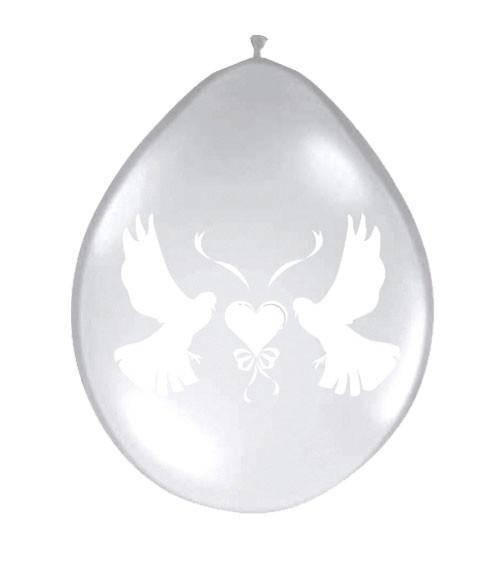 Transparente Luftballons mit Hochzeitstauben - 8 Stück