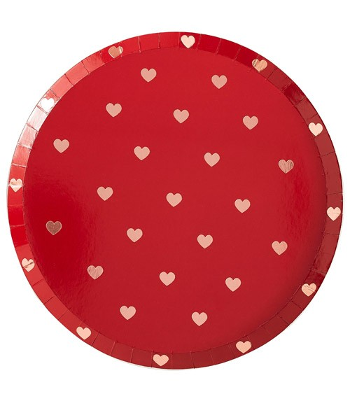 Pappteller mit Herzen - metallic rot & rosegold - 8 Stück