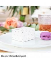 Gastgeschenkboxen mit rosegoldenen Herzen - weiß - 10 Stück