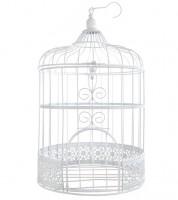 Deko-Vogelkäfig - weiß - 20 x 31 cm