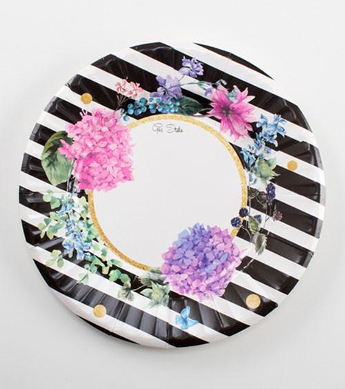"""Pappteller """"Black & Flowers"""" - 8 Stück"""