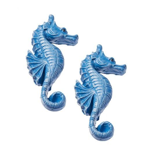 Seepferdchen mit Klebepunkt - blau - 5 cm - 2 Stück
