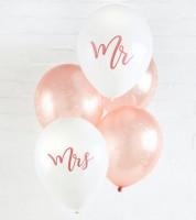 """Mr & Mrs Luftballon-Set """"Floral Rosegold"""" - 5-teilig"""
