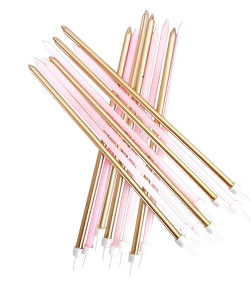 Extra lange Kuchenkerzen - rosa/gold - 16 Stück