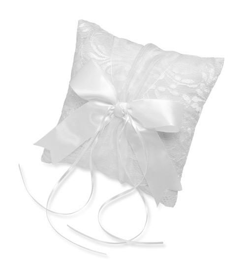 Ringkissen aus Spitze mit Schleife - weiß - 21 x 21 cm