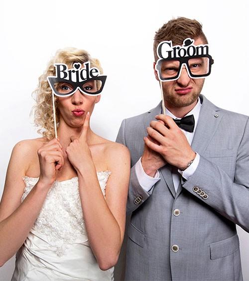 """Photobooth-Brillen """"Bride & Groom"""" - 2 Stück"""