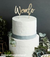 "Cake Topper aus Acryl ""We do"" - metallic gold"