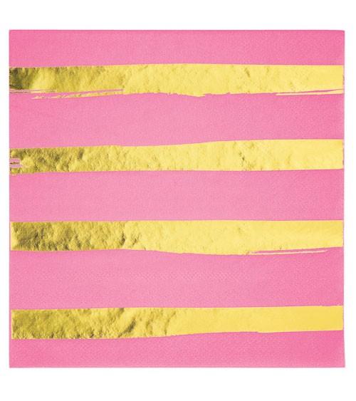 Servietten - candy pink/gold - 16 Stück