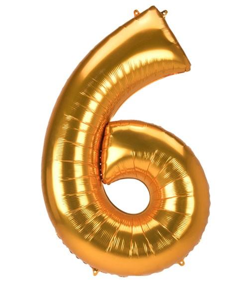 "JumboShape-Folienballon Zahl ""6"" - gold - 83 x 137 cm"