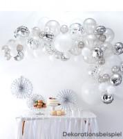 "Ballongirlanden-Set ""Farbmix Silber"" - 70-teilig"