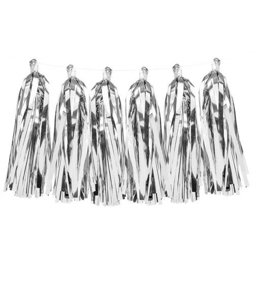 DIY Tassel-Girlande - metallic silber - 1,5 m